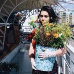 selling flower from bike
